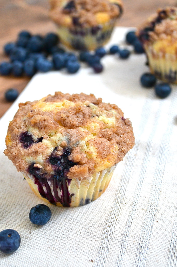 blueberry muffins with cinnamon streusel