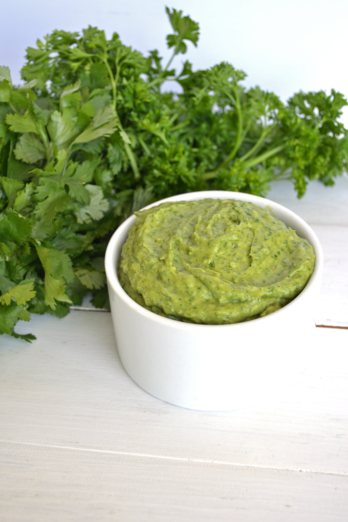 This Avocado Chimichurri is perfect for so many things! From a dip to spread to a sauce for meat, it is so versatile and also whole 30 & paleo!