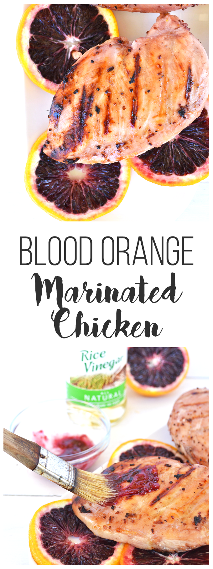 Blood Orange Marinated Chicken - perfect for grilling season! This quick marinade also becomes a sauce for after the chicken is cooked. Paleo, Whole 30 and so delicious!