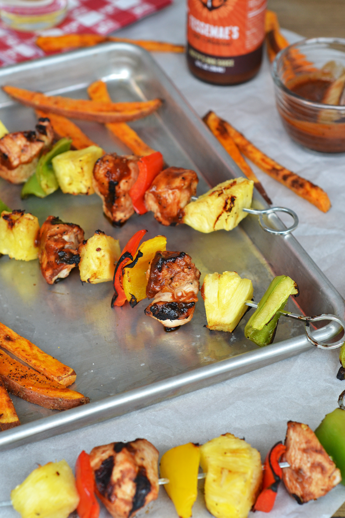 These Pineapple BBQ Chicken Skewers are perfect for grilling season! Whole30 approved with Tessemae's BBQ Sauce!