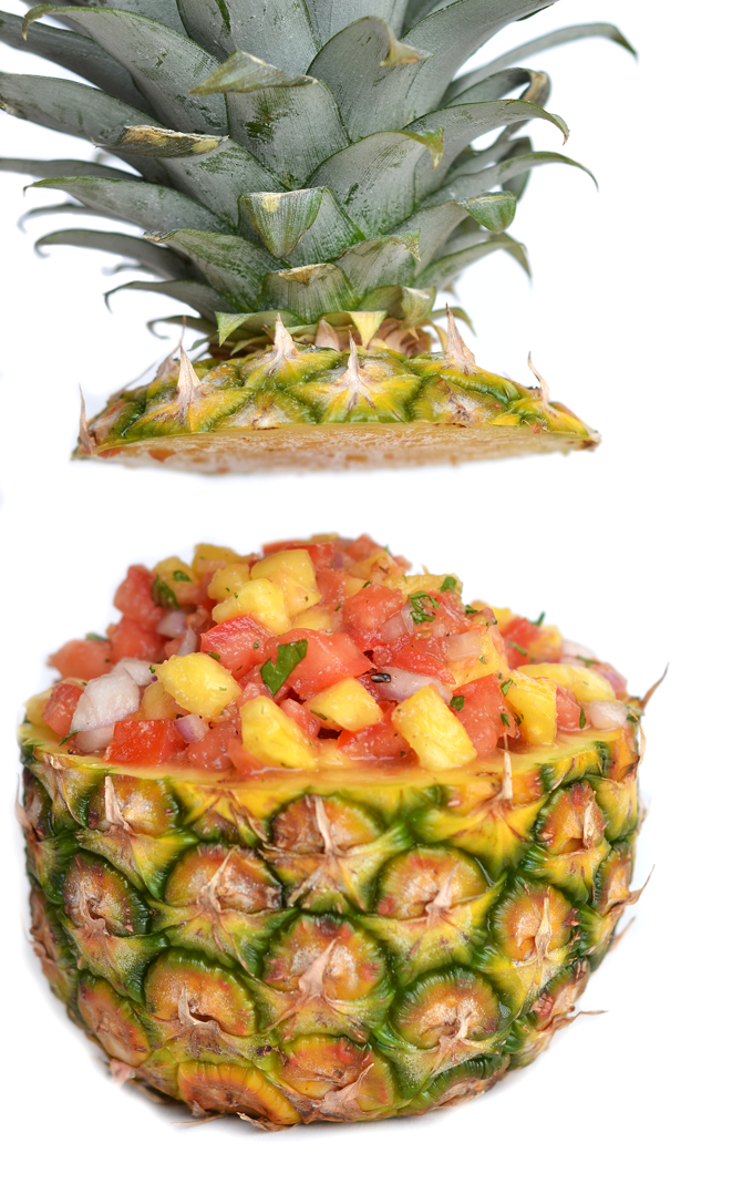 This simple Pineapple Salsa is a perfect top on tacos or pulled pork!