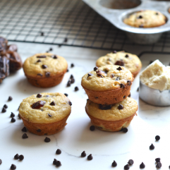 These Grain Free Date and Chocolate Chip Muffins are the perfect snack, dessert or breakfast! Packed with nutrients and comes together in one bowl!