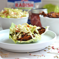 This Pulled Pork with Pickled Radish Coleslaw is a fun meal for spring and summer to preserve and use up those radishes! The pulled pork is full of flavor and comes together in a dutch oven!