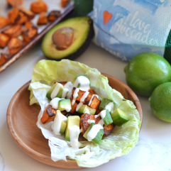 These Charred Cumin Sweet Potato & Avocado Tacos with Lime Crema are paleo, whole30, vegan, dairy free and PERFECT for cinco de mayo or any warm day! Great way to eat your favorite fruits and veggies!