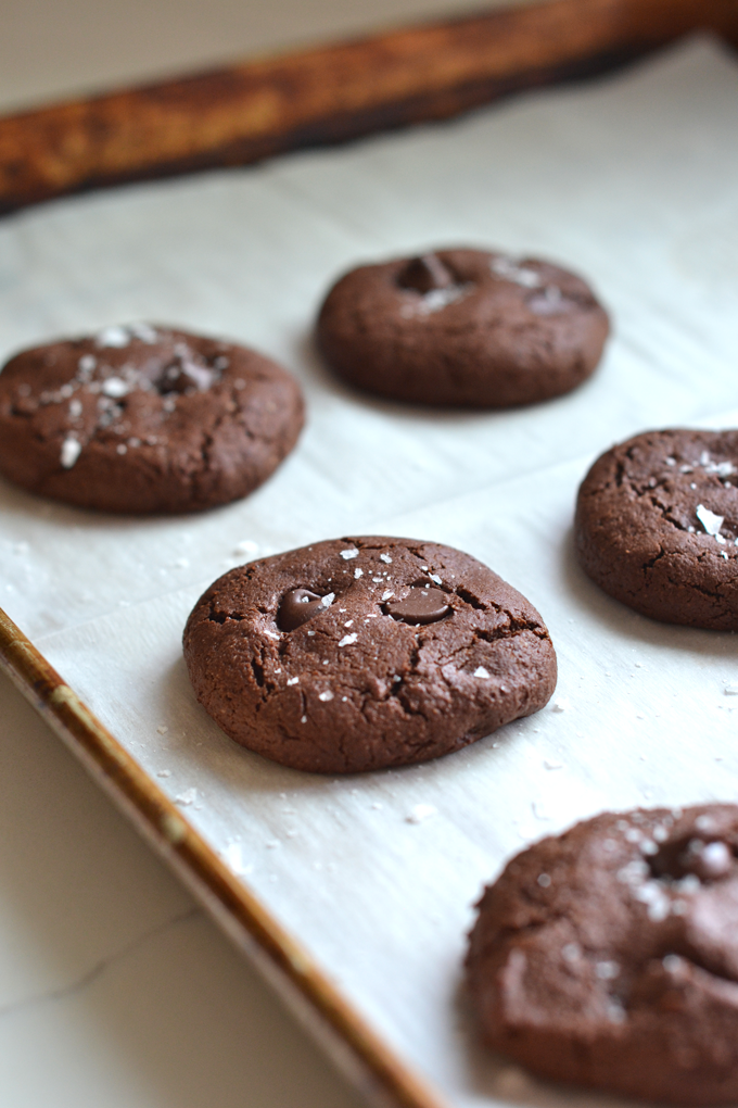 These Grain Free Double Chocolate Cookies are a healthy way to enjoy a decadent dessert! Packed with chocolate flavor and sweetened with coconut sugar!
