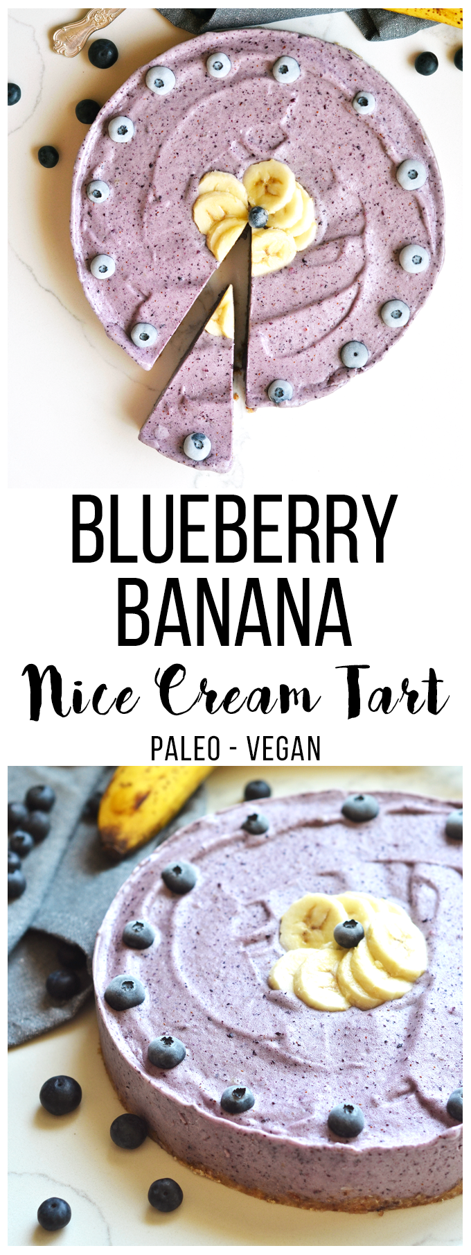 This Blueberry Banana Nice Cream Tart is perfect Paleo and Vegan dessert for hot summer days! Simple to make and a healthy frozen treat!This Blueberry Banana Nice Cream Tart is perfect Paleo and Vegan dessert for hot summer days! A great dairy free ice cream alternative!