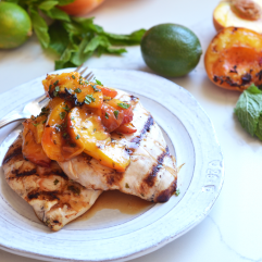 This Grilled Mojito Chicken and Peaches is a healthy and delicious meal for summer grilling! It is paleo and great for any dinner!