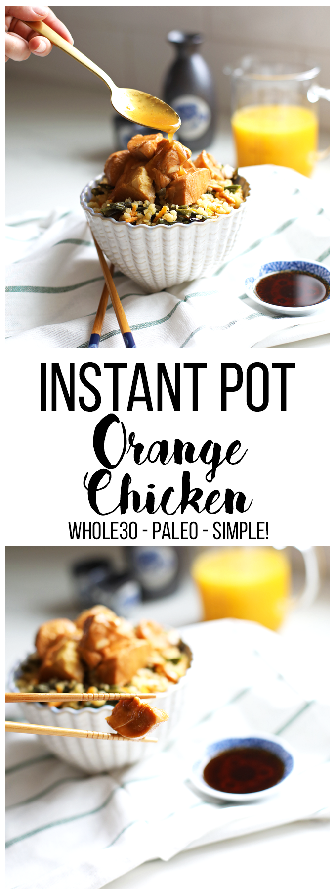This Instant Pot Orange Chicken comes together in minutes and is the perfect Whole30 weeknight dinner!!
