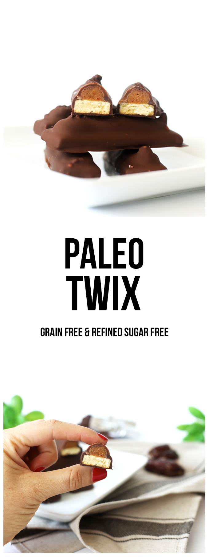 These Paleo Twix are a grain free and refined sugar free version of your favorite candy bar! Perfect to snack on year round!