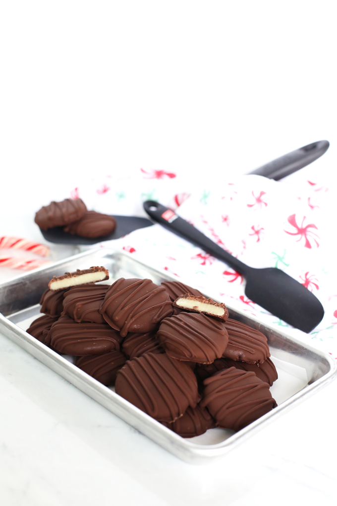 These Paleo Peppermint Patties are not only naturally sweetened but also contain no coconut! Perfect texture and flavor!