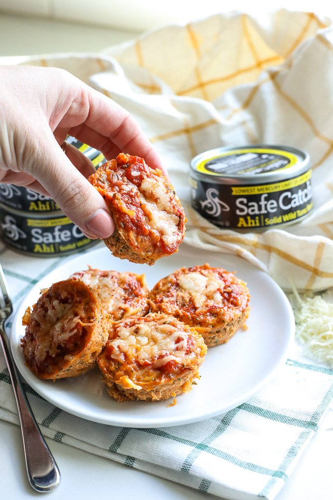 These Tuna Pizza Bites are perfect for a grain free afternoon snack for your kids that the whole family will love!