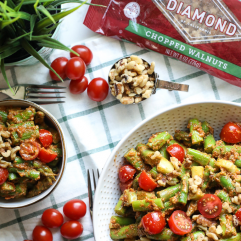 This Asparagus Salad with Sun Dried Tomato Pesto is a great spring time side dish! Paleo, super clean and packed with nutrients!