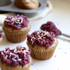 These Paleo Raspberry Vanilla Cupcakes are totally grain free and are sweetened with coconut sugar! Perfect for a birthday, bridal shower or any occasion!