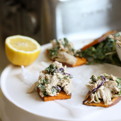 This Caesar Chicken Salad on Sweet Potato Toast is a fabulous way to enjoy a whole30 or paleo lunch that you can prep ahead!