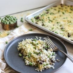 This Sheet Pan Mushroom Cauliflower Rice Risotto is a super simple way to add veggies to a simple and tasty side dish!