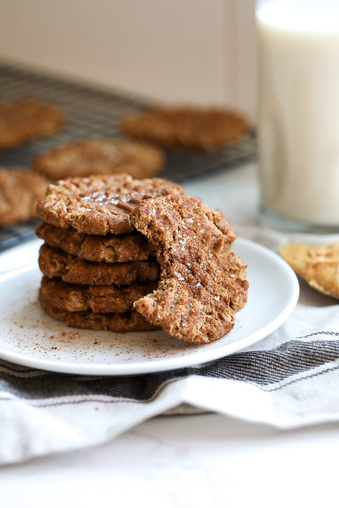 These Churro Peanut Butter Cookies are grain free and refined sugar free and super packed with flavor!