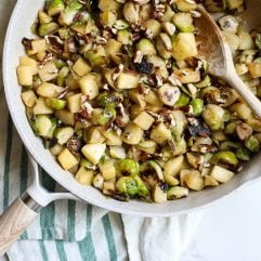 These apple glazed brussels sprouts are the perfect combo of sweet and salty that combine together for a great fall dish!
