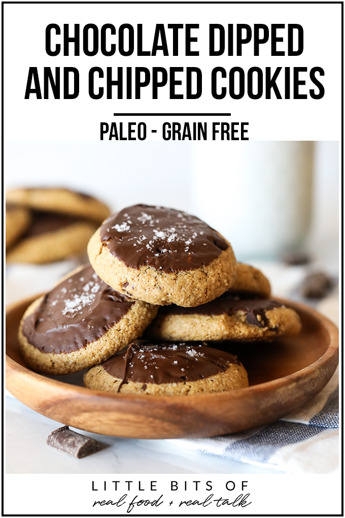 These chocolate dipped and chipped cookies are paleo, grain free, refined sugar free and so delicious!