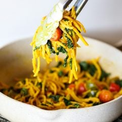 These Quick Curry Butternut Squash Noodles are a simple whole30 dinner you can make with just a few ingredients!