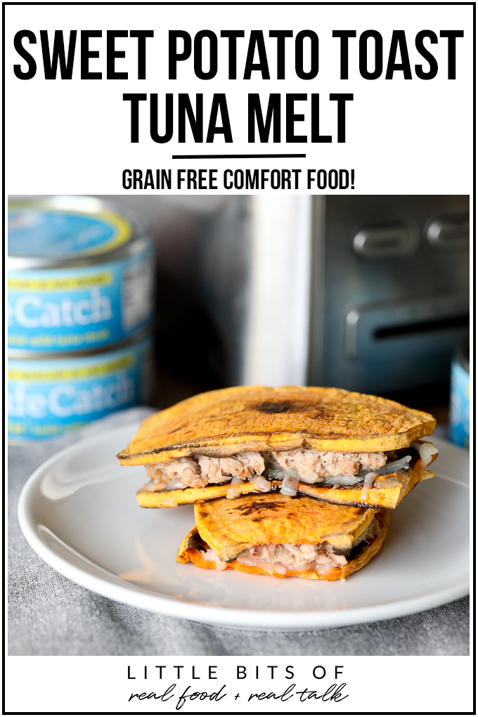 This Sweet Potato Toast Tuna Melt is so easy to make and fills that comfort food craving with no grains! Perfect with tomato soup for a quick and healthy lunch.