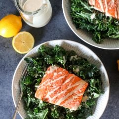 This Lemon Tahini Salmon Salad is a super simple and tasty weeknight meal that is Whole30 and paleo!