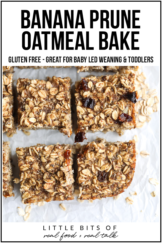 This Banana Prune Oatmeal Bake is perfect for kiddos with tons of nutrients, and it is easy for babies to chew if doing baby led weaning!