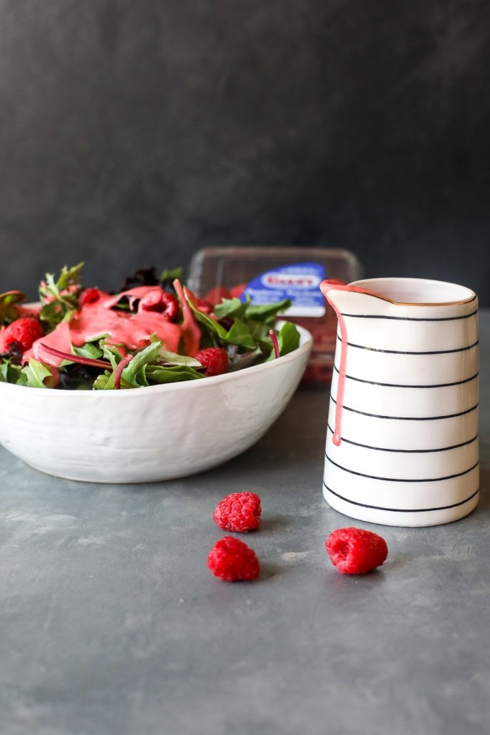 This is a simple Raspberry Vinaigrette recipe that comes together super easily in a blender and is whole30 compliant!