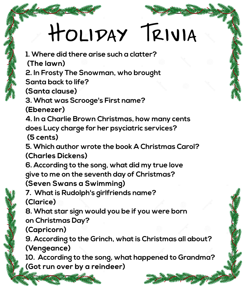 Holiday Trivia questions & answers