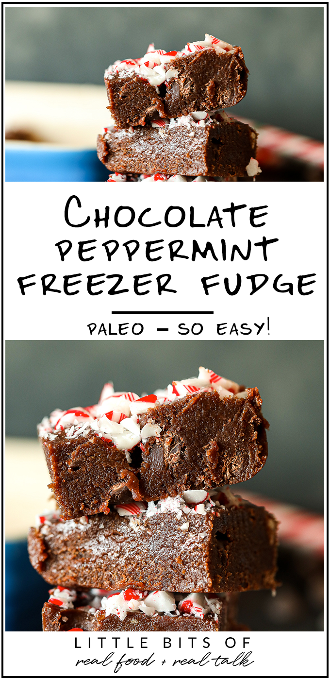 This Chocolate Peppermint Freezer Fudge comes together easily in the food processor then sets in the freezer for a paleo take on fudge!