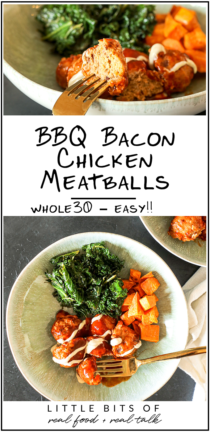 These BBQ Bacon Chicken Meatballs are a simple and delicious Whole30 meatball recipe to add into your weeknight meal plan!