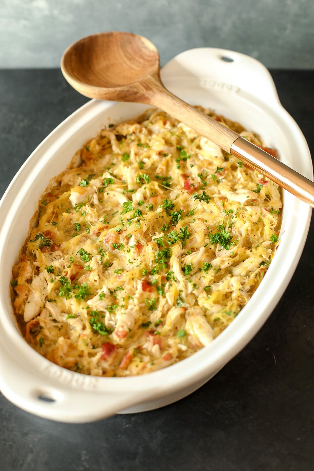 This Chicken Bacon Ranch Spaghetti Squash Casserole is Whole30 compliant, easy to make and so delicious!