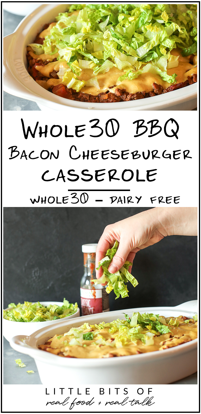 This Whole30 BBQ Bacon Cheeseburger Casserole is an easy and comforting weeknight meal the whole family will love!