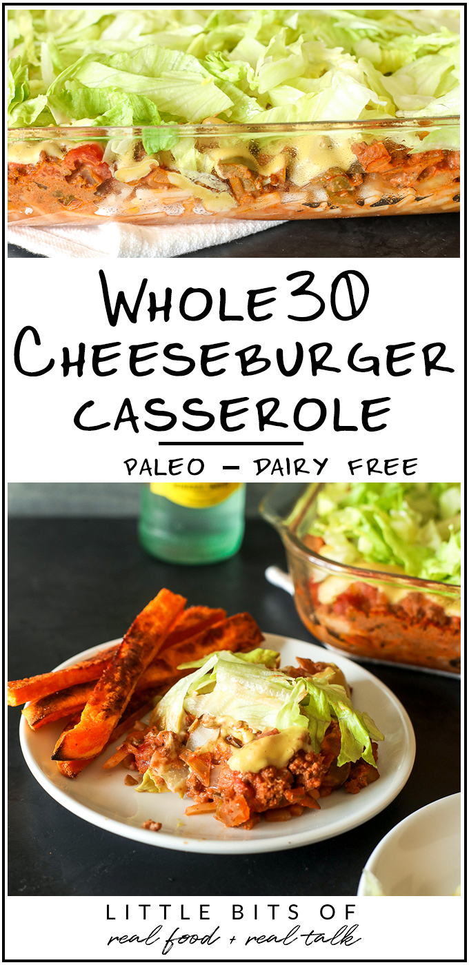 This Whole30 Cheeseburger Casserole is an easy and comforting weeknight meal the whole family will love!