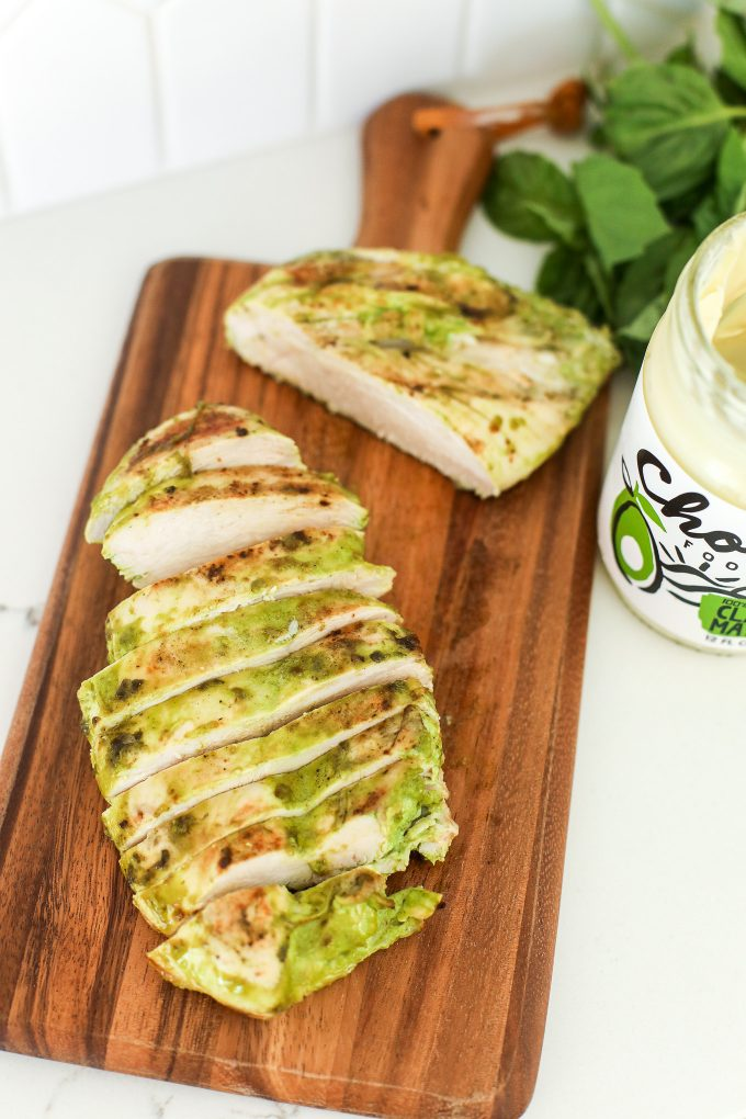 This Grilled Mayo Marinated Pesto Chicken is a simple and Whole30 recipe that ensures moist and delicious chicken!