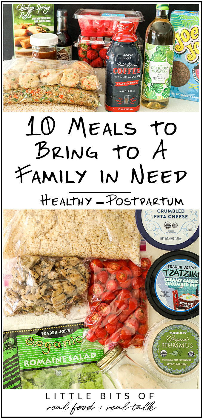 This list of 10 Meals to a family in need is a perfect guide for full meals you can bring to anyone who just had a baby, a death in the family, or someone who is sick or just too busy!
