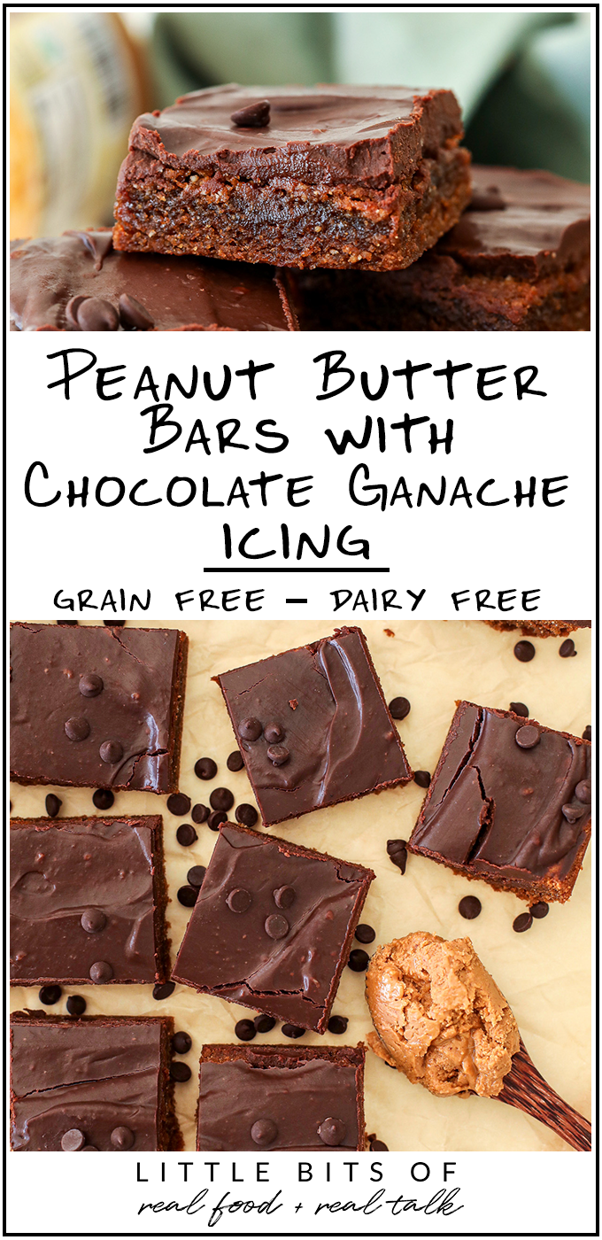 These Peanut Butter Bars with Chocolate Ganache Icing are grain free, dairy free and so easy to make!
