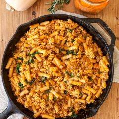 This Harvest Mac & Cheese with Sausage and Kale is so tasty, dairy free, gluten free and perfect for a fall or winter weeknight!