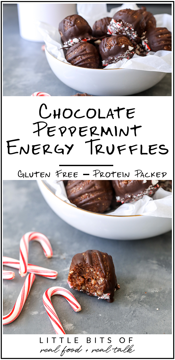 These Chocolate Peppermint Energy Truffles are the perfect mix of healthy ingredients packed with nutrients but also dipped in chocolate for a truffle taste!