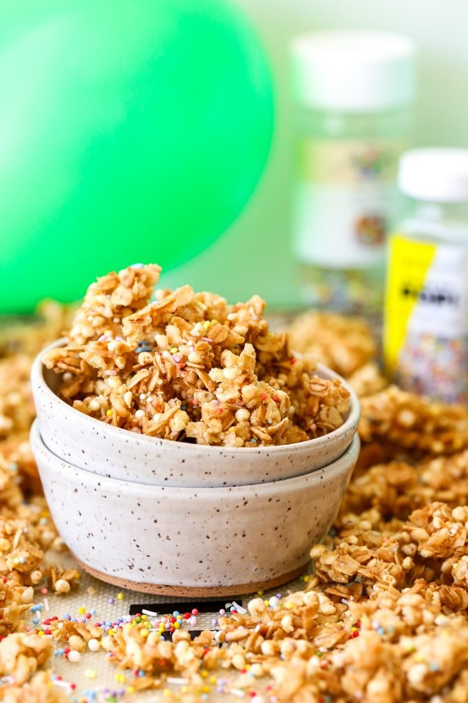 This Birthday Cake Granola is a super tasty and healthy granola that is super easy to make!