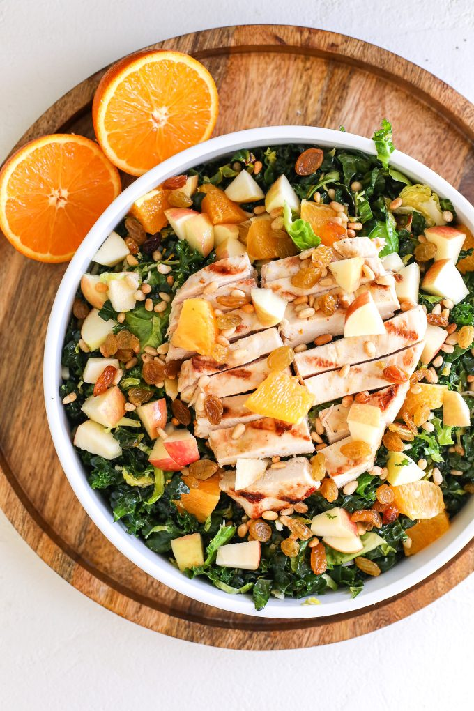 This Shaved Brussels Sprouts & Kale Salad with Orange Shallot Vinaigrette is the perfect packed salad to celebrate Earth Day!