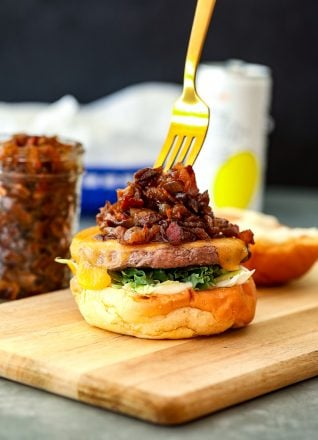This Bacon Onion Jam is so delicious and perfect on burgers!