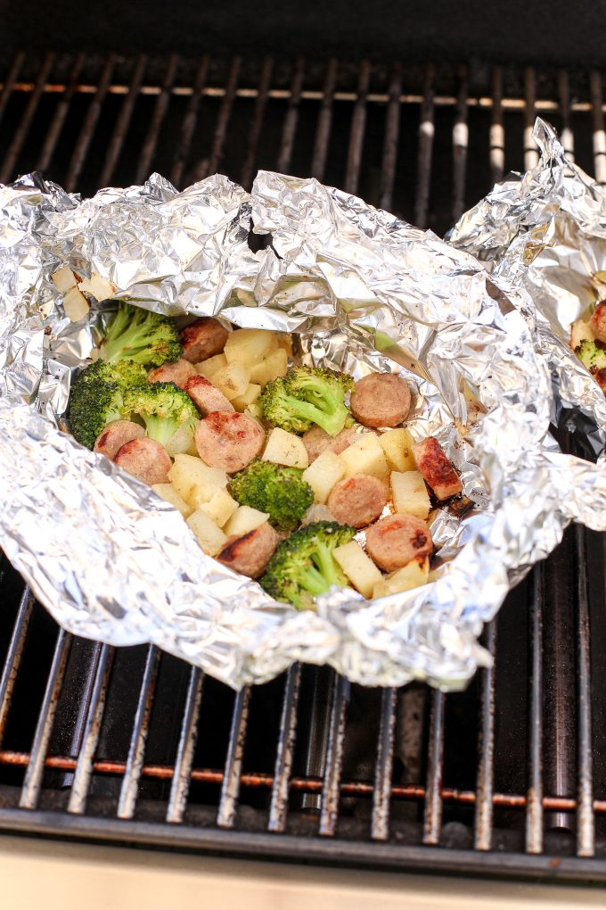 These Chicken Sausage, Potato & Broccoli Foil Packets are perfect for a quick dinner on the grill or while camping!