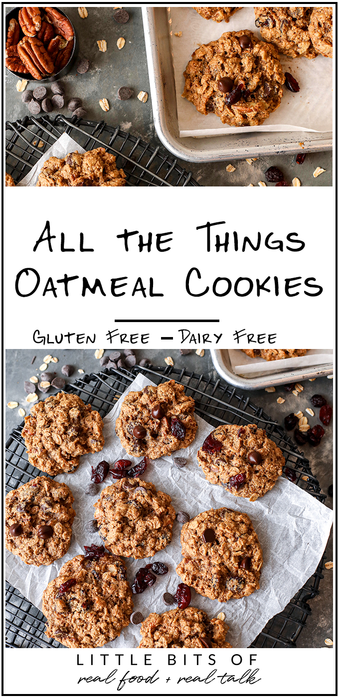 These All the things oatmeal cookies are gluten free, dairy free and packed with pecans, dried cranberries and chocolate chips!