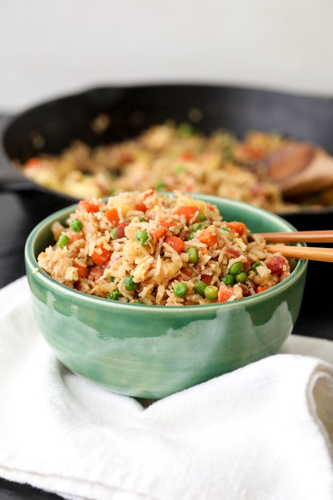 This Bacon Pineapple Veggie Fried Rice is half rice and half cauliflower rice making it packed with veggies and flavor!