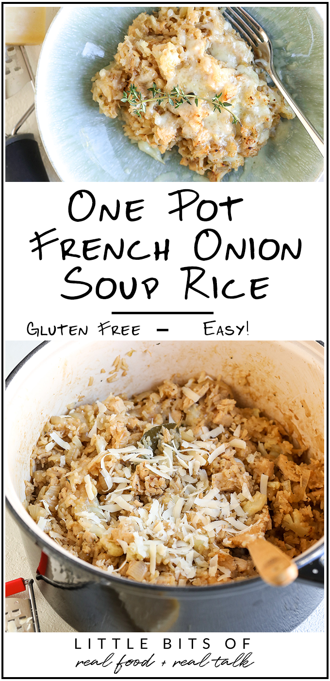 This One Pot French Onion Soup Rice is a healthy, gluten free, one dish dinner that the whole family will love!